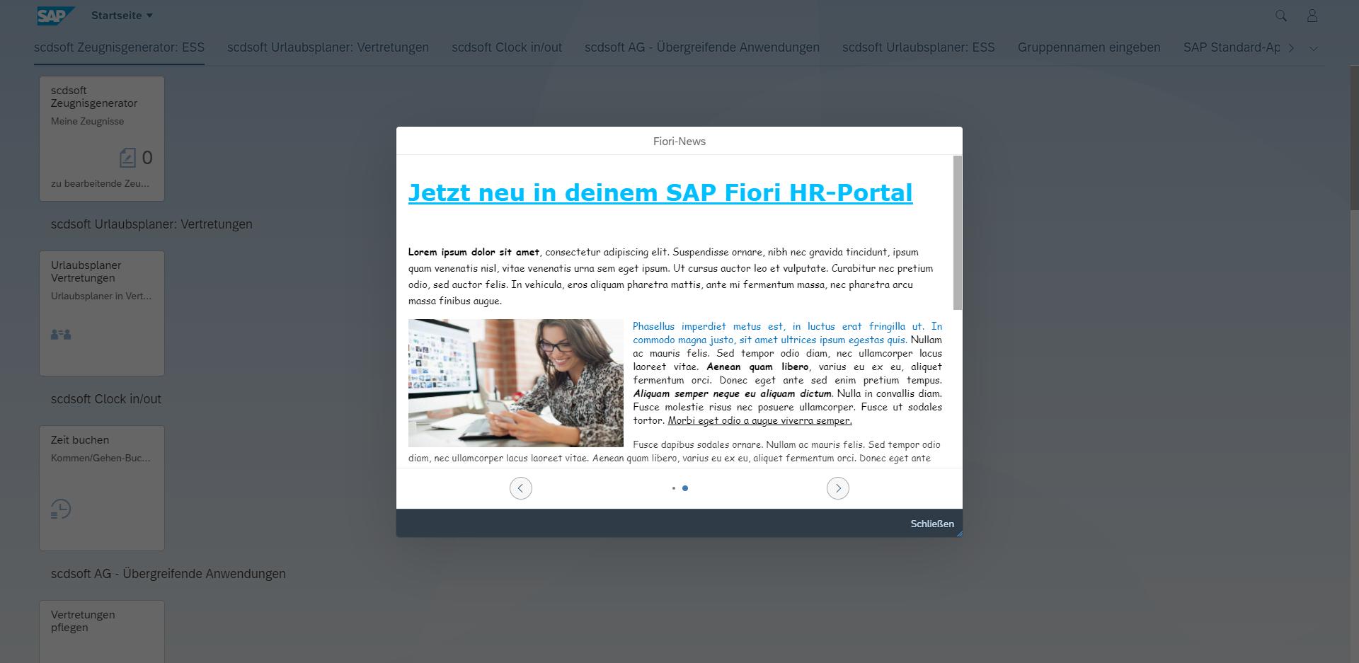 scdsoft Fiori Launchpad News App